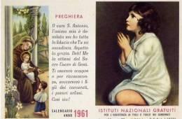Calendarietto - Istituto Nazionale Gratuiti Per L'assistenza Ai Figli E Figlie Dei Carcerati - Roma 1961 - Calendriers