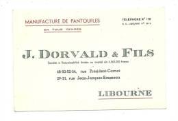 Publicité, J. Dorvald & FIls - Manufacture De Pantoufles - Libourne - Cartes De Visite