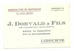 Carte De Visite , , J. Dorvald & Fils - MAnufacture De Pantoufles - Libourne (33) - Cartes De Visite