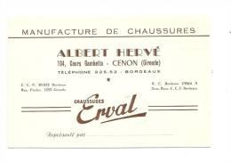 CARTE DE VISITE ,  Albert Hervé - Manufacture De Chaussures - Cenon (33) - Cartes De Visite
