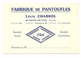 Carte De Visite ,  Louis Chabrol - Fabrique De Pantoufles - St-Denis-de-Pile (33) - Cartes De Visite