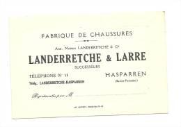 Carte De Visite , Landerretche & Larre - Fabrique De Chaussures - Hasparren (64) - Cartes De Visite