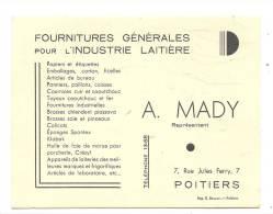 Carte De Visite , A. Mady - Fournitures Générale Pour L'Industrie Laitière - Poitiers (86) - Cartes De Visite
