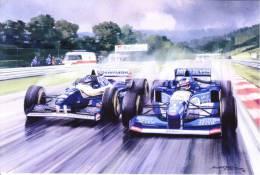 Damon Hill  (Williams) - Michael Schumacher (Benneton)  - Belgian GP 1994  - Michael Turner Artwork -   Postcard China - Grand Prix / F1