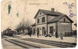 PONT-FAVERGER - La Gare / Intérieur De Gare, Train, CPA Animée - Otros Municipios