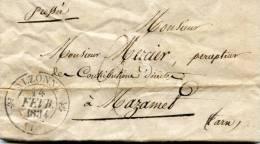 Marque Postale Pressée -  D'Alzonne à Mazamet  -1834 - Collections