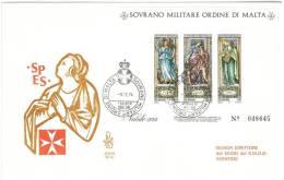 FDC VENETIA - ANNO  1974 - FOGLIETTO NATALE -   SMOM - S.M.O.M. SOVRANO MILITARE ORDINE DI MALTA - Sovrano Militare Ordine Di Malta