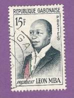 GABON TIMBRE N° 159 OBLITERE PRESIDENT LEON MBA - Gabon (1960-...)