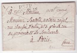 1826 Lettre Datée De Allevard Avec Marque P.37.P./GONCELIN Pour Paris - 1801-1848: Voorlopers XIX