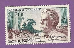 GABON TIMBRE POSTE AERIENNE N° 1 OBLITERE DOCTEUR SCHWEITZER - Gabon (1960-...)