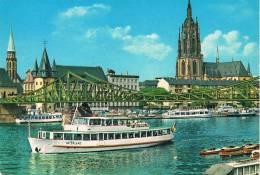 """Fahrgatschiff """"VATERLAND"""" Auf Dem Main In FRANKFURT Mit Eisernem Steg. Dom, Rententurm Und Nicolaykirche - TBE, 2 Scans - Other"""