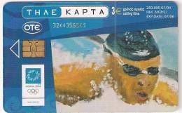 Greece Chip Card 250.000 07/04 Olympic Swimming - Griekenland