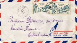 1 Enveloppe Par Avion De 1950 Avec 1 Paire 4f Attachés Dont 1 Déchiré Avant Affranchissement - Togo (1960-...)