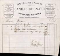 CAMILLE REGNARD, ORTHOPEDISTE MECANICIEN A PARIS / FACTURE DATEE 1868 / DPT 75 - 1800 – 1899