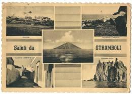 """1951. CPA """"SALUTI DA STROMBOLI"""" DIRECTED FROM MESSINA TO PARIS - Italia"""