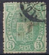 Sello 5 Cts Impuesto De Guerra 1875, Fechador LOJA (Granada), Num 154 º - Impuestos De Guerra