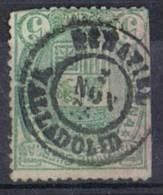 Sello 5 Cts Impuesto De Guerra 1875, Fechador PEÑAFIEL (Valladolid) Num 154 º - Impuestos De Guerra
