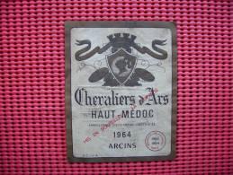 Etiquette  Vin  Chevaliers D'arts Medoc  1964 Arcins - Red Wines
