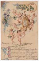 NUDE ANGEL NEW YEAR CLOCK CUPID ITALY  CA 1900  Vintage Original Postcard Cpa Ak (W3_1312) - Angeles