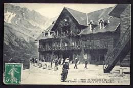 CPA  ANCIENNE- FRANCE-  LE GRAND GALIBIER (05)- ROUTE DE GRENOBLE A BRIANCON- L'HOTEL DU COL EN TRES GROS PLAN ANIMÉ - Frankreich