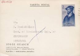 Spain JORGE GUASCH Instituto Policlinico Hematologia BARCELONA Tarjeta Postal To COPENHAGEN Denmark (2 Scans) - 1931-Heute: 2. Rep. - ... Juan Carlos I
