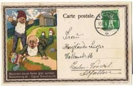TELL 57 - Belle Carte Postale Illustrée D'un Apiculteur Thèmes Miel Abeilles Nains Exp. De Flawil 1916 - Alimentation