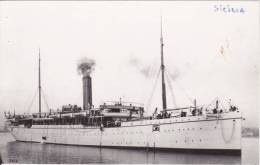 SICILIA As HMT No 7 Boer War Troop Transport P&O Line Real Photo Ship PHOTOcard - Piroscafi