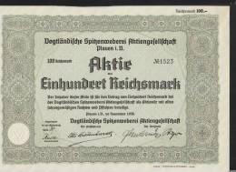 Vogtländische Spitzenweberei AG Plauen 100 Mark Aktie 1938 - Textil