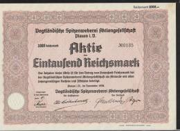Vogtländische Spitzenweberei AG Plauen 1000 Mark Aktie 1938 - Textile