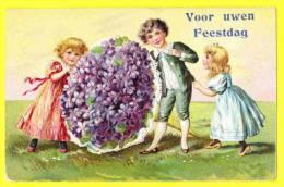 * Fantaisie - Fantasie - Fantasy * Relief, Fleurs, Boeket, Flowers, Bloemen, Bouquet De Fleurs, TOP CPA, Rare, Enfants - Fête Des Mères