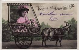 Carte Postale Fantaisie Jeune Fille-Young Girl- Charrette Attelage Avec CHEVRE - ANIMAUX - VOIR 2 SCANS - - Portraits