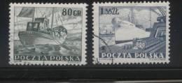 POLAND 1953 MERCHANT NAVY SET OF 2 USED Ships Boats Fishing Fishermen Docks Harbour - Schiffe