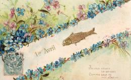 POISSON AVRIL  Métal  Jaune  2 Rangées De Fleurs  Je Vous Envoie Ce Poisson Comme Gage De Mon Affection - April Fool's Day