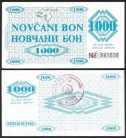 Bosnia Herzegovina 1000 DINARA VISOKO 1992 P 8f XF / SPL - Bosnië En Herzegovina