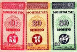 MONGOLIE Lot De 3 Billets 10,20,50,mongo 1993 Neuf - Mongolia