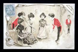 Illustration Art Nouveau - Soirée Mondaine Rallye - Invitation à Danser Danse Groupe De Jeunes Gens - Circa 1900 - 1900-1949