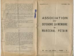 1952 Bulletin N°2 Association Pour Le Maréchal Pétain + 2 Cartes Postales Port France Métr 80c - Vieux Papiers