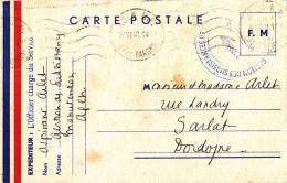 CARTE POSTALE F. M.,1940, L'OFFICIER CHARGE DU SERVICE - France
