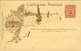 1895-Italia Cartolina Postale 10c. Nuova, Città Di Venezia Esposizione Internazionale D'arte, Laguna E Ferro Da Gondola - 1878-00 Umberto I