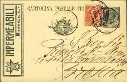 1921-Italia Cartolina Postale 15c.Leoni Tassello Pubblicitario Impermeabili Pirelli Con Affrancatura Aggiunta 10c.Leoni - 1900-44 Vittorio Emanuele III