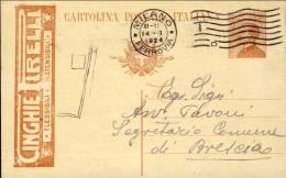 1924-Italia Cartolina Postale 30c.arancio Tassello Pubblicitario Cinghie Pirelli Viaggiata - 1900-44 Vittorio Emanuele III