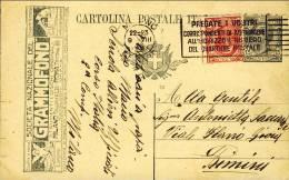 1921-Italia Cartolina Postale 15c.Leoni Tassello Pubblicitario Societa' Nazionale Del Grammofono Con Affrancatura Aggiun - 1900-44 Vittorio Emanuele III
