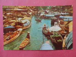 Bankok Thailand -- Scene Of Floating Market- Early Chrome---- Ref- 841 - Indonesia
