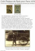 Colis Postaux Paris Pour Paris 1978 Par Omnibus, N° 1+2 Timbres De La ´Compagnie Des Transports Parisiens Par Omnibus + - Colis Postaux