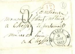 LAC De Sablé  Sur Sarthe  Pour Cheffes Taxe Rouge 1 Decime Rural PLUS 2 Decimes En Noir Bureau à Bureau ( 1842) - Ax3608 - Marcophilie (Lettres)