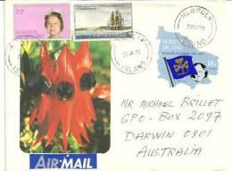 Lettre Illustrée De L'ile Norfolk Adressée En Australie - Timbres