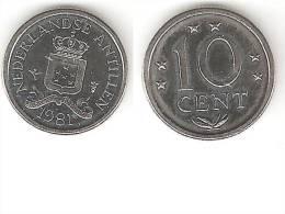 Netherlands Antilles  10 Cents  1981   Km 10  Bu - Netherland Antilles