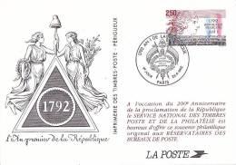 21820 Souvenir Philatelique, 2.2 Bicentenaire  Republique Francaise 1792 2.50 An 1 Poste Reservataires Bureaux