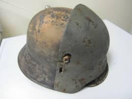 Casque Allemand  + Plaque De Protection  Stahlhelm Stirpanzer Stirnplatte - 1914-18