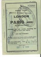 Ticket London To Paris Via Dover - Calais 1948 - Tickets - Vouchers